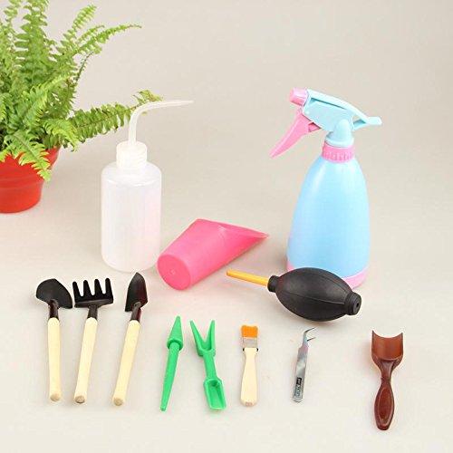 12 pcs/lot Mini outils de jardinage Fourche/pelle/forceps/Vaporisateur Plastique + Bois + Métal Succulents Kits de Outil de jardinage