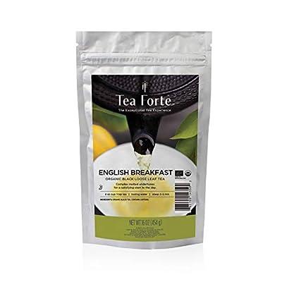 Tea Forte English Breakfast Loose Bulk Tea, 1 Pound Pouch, Organic Black Tea Makes 160-170 Cups