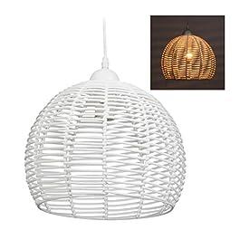 Relaxdays 10028383 Lampe en rotin, plafonnier, suspension, salon, salle à manger, Douille E27,40 W, 1 ampoule HxD 120×28…
