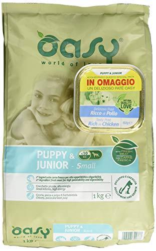 Oasy Alimento Secco per Cane Puppy & Junior Small 1Kg-Mangimi Secchi per Cani, Multicolore, Unica