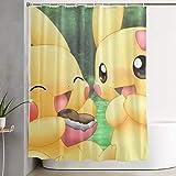 qinhanxinchengxianlibaihuodian Duschvorhang Pikachu Paar Kunstdruck, Polyester Stoff Badezimmer Dekorationen Sammlung mit Haken - 60 x 72 Zoll