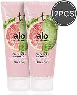(FRUITS & PASSION) SHOWER GEL [GRAPEFRUIT GUAVA] 200ML 2 pcs Bundle, Shower Gel with vitamin E and Antioxidant product, biodegradable formula (200ML / 6.76 Fl. Oz) by ALO