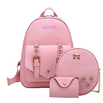 Floki Fashion Girls 3-PCS Fashion Cute Mini Leather Backpack sling & pouch set for Women