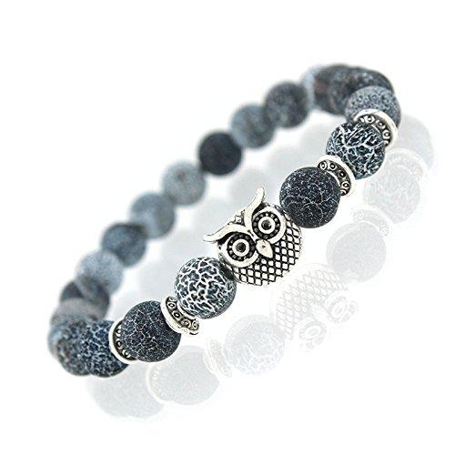 Armband Edelstein Crackstone, Blauquarz, mit Krafttier Eule Silber - Yoga Esoterik Spiritualität Astrologie