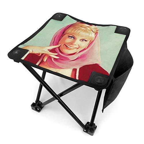 Rhythm-cy Barbara Eden Vintage Fernsehstern Kleiner Klapphocker Tragbarer Mini Tritthocker Outdoor Klappstuhl Klappstuhl Camping Hocker für Angeln Camping Reise