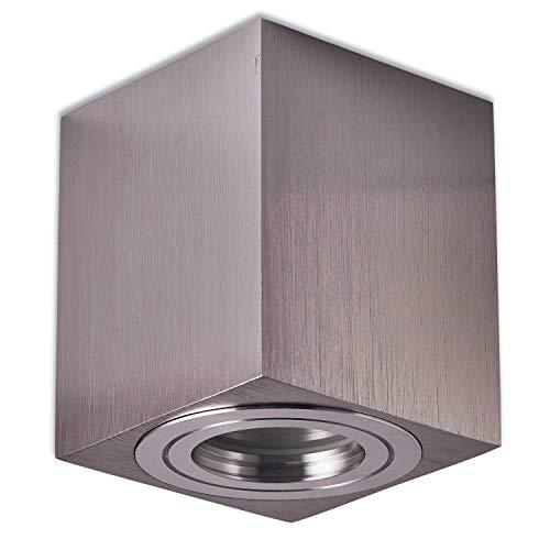 Trano LED Aufbauleuchte Aufbaustrahler GU10 230V Edelstahl gebürstet 1,2 Watt warmweiß – Aufbau-spot IP44 für Bad/Außen als Deckenleuchte und Deckenstrahler – mit Leuchtmittel Strahler