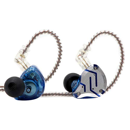 KZ ZS10 Pro, Linsoul 4BA+1DD 5 Driver in-Ear HiFi Metal Earphones with Stainless Steel Faceplate, 2 Pin Detachable Cable (Without Mic, Glare Blue)