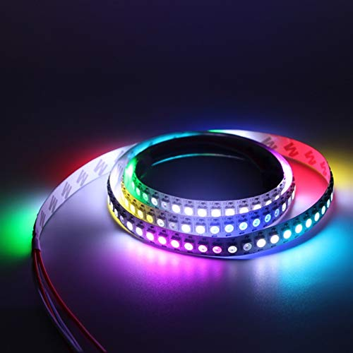 H/A 2m 3m 4m 5m 5V 2812 WS2812 LED Light Strip Puede abordar el píxel LED Smart RGB con PCB Negro/Blanco IP65 TOM-EU (Emitting Color : Black PCB, Size : 4m)