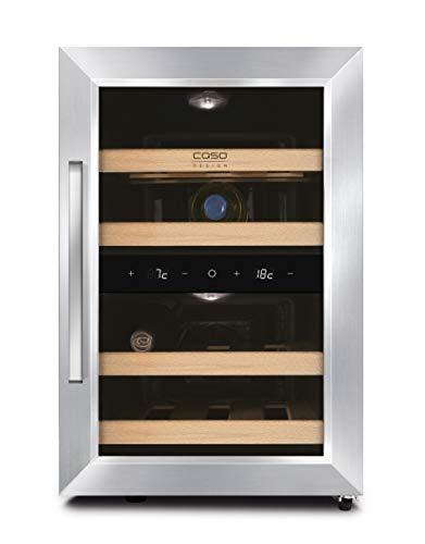 CASO WineDuett 120   Weinkühlschrank für 12 Flaschen Rotwein   2 Zonen für 8-18°C und 10-16°C, LED und Touch, 4 Böden aus Holz, UV-Filter, Edelstahl