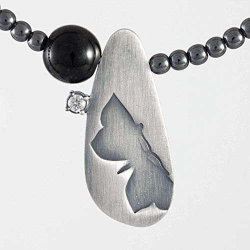 Silber-Halskette Schmetterling Onyx Zirkon elegante Kette schwarz