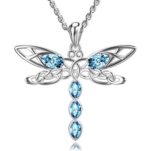 TOUPOP Dragonfly Necklace s925 Sterling Silver Celtic Dragonfly Pendant Jewelry with 5 Blue Marquise Crystal Gifts for Her,Women Teen Girls Birthday Christmas