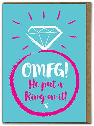 "Lustige ""OMFG! Put A Ring On It""-Grußkarte zur Verlobung, mit Verlobungsring-Motiv"