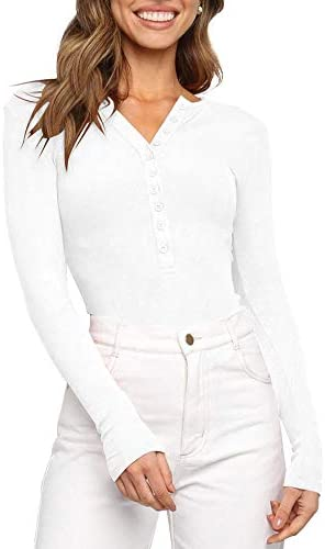 Women s V Neck Long Sleeve Button Down Henley Shirt Ribbed Knit Stretchy Leotards Bodysuits product image