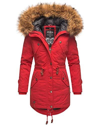 Marikoo warme Damen Winter Jacke Winterjacke Parka Mantel Kunstfell Kapuze B813 [B813-Lav-Pri-Rot-Gr.S]