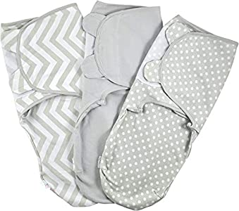 Manta Envolvente para Bebé y Recien Nacido 1.0 TOG – 3x Saco de Dormir Manta de Arrullo Cobija 100% Algodón 220GSM - Gris 0-3 Meses