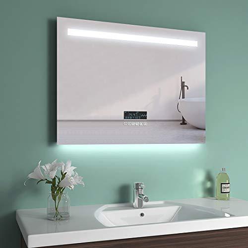 EMKE LED Badspiegel 80x60cm Badspiegel mit Beleuchtung kaltweiß Lichtspiegel Badezimmerspiegel Wandspiegel mit Touchschalter, beschlagfrei, Bluetooth 4.1 Lautsprecher, IP44 energiesparend