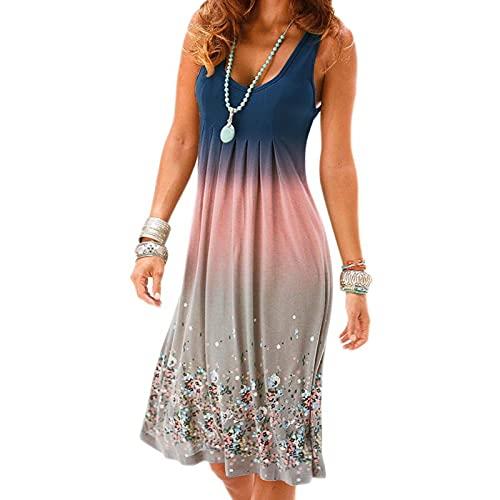 SLYZ Europäische Und Amerikanische Sommerkleider Für Frauen Mit Mittlerer Länge, Modedruck Farbverlauf Frauenkleid