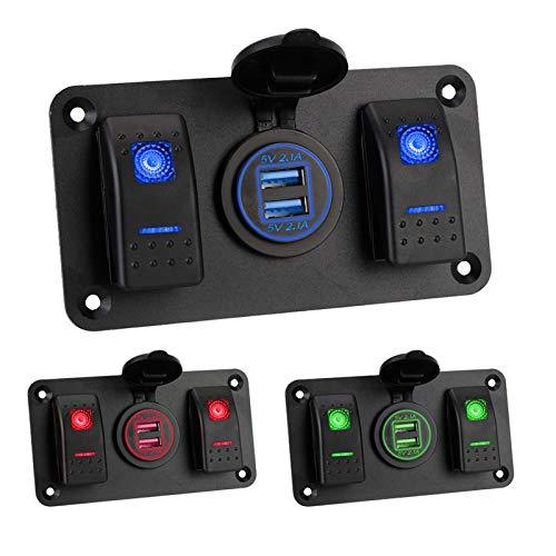 LIANGJIN LED Rocker Switch Panel Impermeable a Prueba de Polvo APERSPIZADOR Marino DE CUCHE 12 / 24V Interior de la Pieza Interior del Interruptor de la Pieza del Circuito Dual USB Puerto