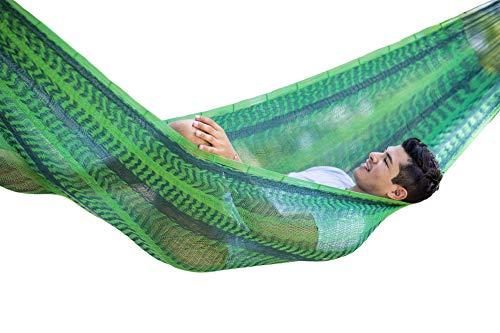 MacaMex Forest hangmat, Mexicaanse nethangmat voor meerdere personen 250 kg, 410 x 250 x 150 cm, groen,