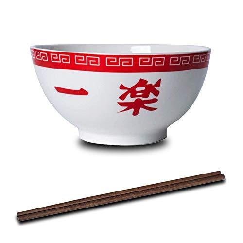 LVMMO KNWSHT Ñåruto Ramen Bowl (16,5 cm) mit Hölzernen Stäbchen Porzellan Ramen Suppenschüssel Set für Udon Nudeln Pho Soba Getreidesalat Kinder Geschenk
