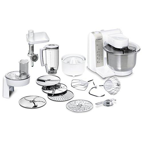 Bosch MUM48140DE Küchenmaschine (Vielseitigkeit durch diverses Zubehör, große Rührschüssel, 4 Rührstufen, 600 Watt) weiß