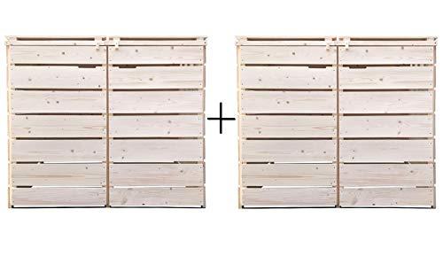 Fairpreis-design Mülltonnenbox Mülltonnenverkleidung 4 Tonnen Holz 120L - 240L Natur inkl. Rückwand vormontiert Müllcontainer Mülltonne Mod.A