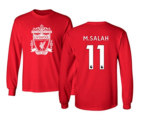 Tcamp Liverpool #11 Mohamed Salah Premier League Boys Girls Youth Long Sleeve T-Shirt (Red, Youth Medium)