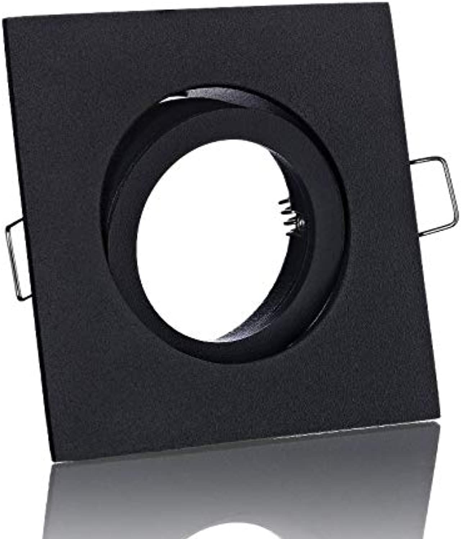 10xEinbaustrahler Rahmen Lampe Spot schwarz matt eckig Druckguss+GU10 L Fassung