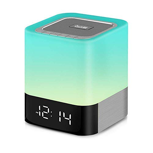 Celcube Nightlight Bluetooth Speaker, 5 in 1 LED Dimmable Bedside Touch Lamp, Wireless Speaker with Color Changing Light and Alarm Clock, TF Card and AUX Supported, Gift for Men Women Children Kids