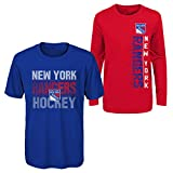 Outerstuff NHL Youth Boys (8-20) Performance Long & Short Sleeve T-Shirt Combo, New York Rangers Large (14-16)