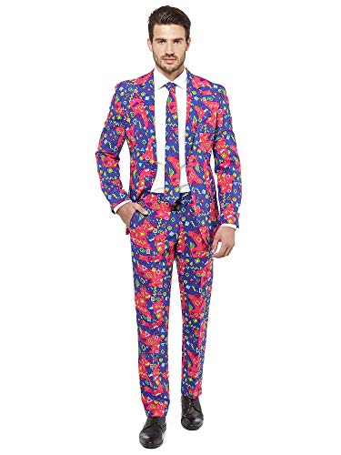 OppoSuits Crazy Prom Suits for Men – The Fresh Prince – Comes with Jacket, Pants and Tie in Funny Designs Costume d39homme, Purple, 38 Homme