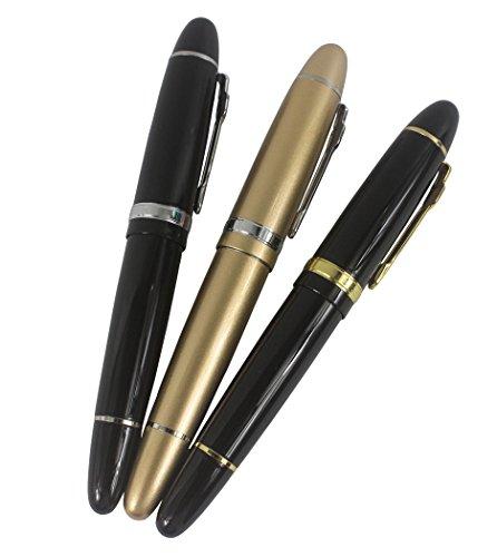3 pc Jinhao 159 penne a rulli di grandi dimensioni in 3 colori (clip nera, nera e oro, dorata) penna ben bilanciata, scrittura liscia, con tasca trasparente penna