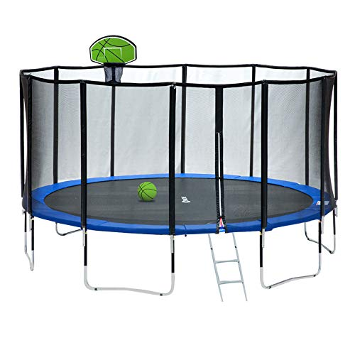 Exacme 15 Foot Outdoor Round Trampoline with Enclosure and Basketball Hoop, 400 LBS Weight Limit,...