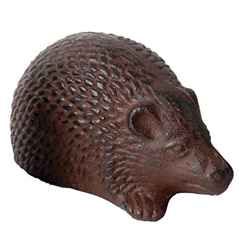 L'Héritier Du Temps Statuette Herisson ou Animal Décoratif à Poser en Fonte Patinée Marron 6,5x7,5x13,5cm