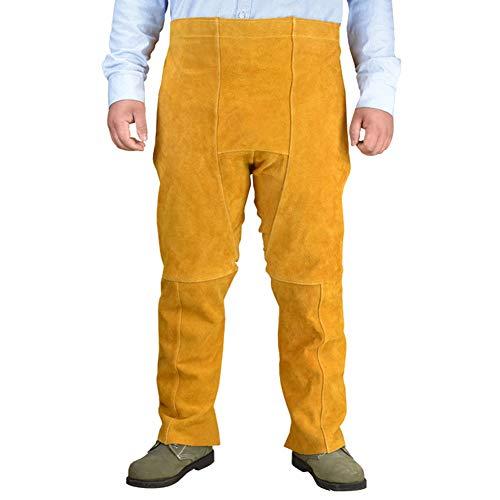 MOXIN Soldadura Pantalones Cuero Resistente Calor Pierna Dividida Ropa Protectora para Soldador Taller Actividades Garaje Piel Herramienta jardín casera,Brown