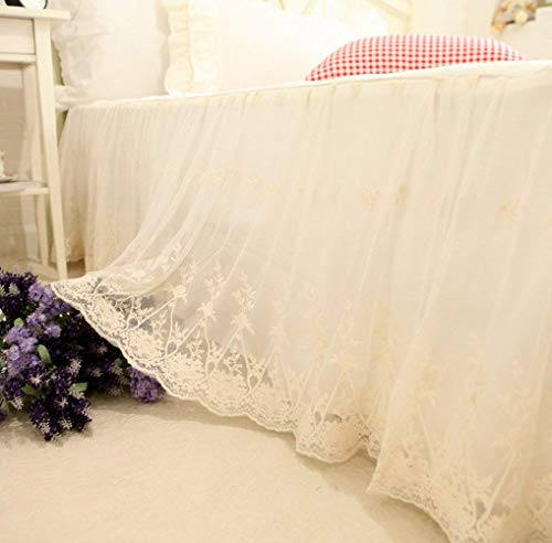 Brandream Shabby Luxury Lace Bed Skirt King Size Split Corners 18 Inch Drop Cream White Dust Ruffle Bed Skirts Unique Bedroom