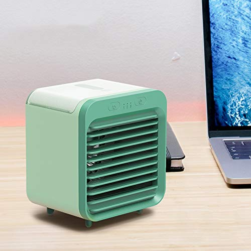 Slefpt Mini Air Conditioning Fan Water Cooling kleine ventilator Student Portable USB opladen slaapzaal Office Desktop Ultra-stille elektrische ventilator warm en koud sproeibevochtiger