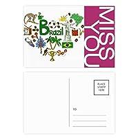 ブラジル愛の心の風景の国旗 ポストカードセットサンクスカード郵送側20個ミス