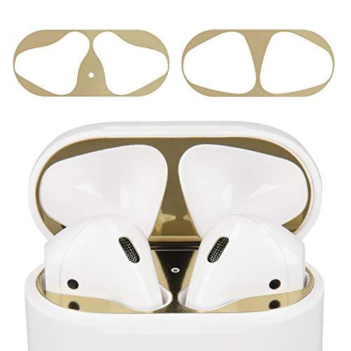 kwmobile Sticker Antipolvere compatibile con Apple AirPods - Protezione parapolvere antisporco per interno auricolari - oro