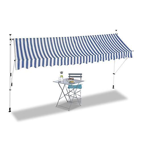 Relaxdays, blau Klemmmarkise, Balkon Sonnenschutz, einziehbar, Fallarm, ohne Bohren, verstellbar, 400 cm breit, gestreift