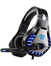 Gaming-headset voor PS4 Xbox One PC-hoofdtelefoon met microfoon LED-licht Ruisonderdrukking over het oor Compatibel met Nintendo Switch Games Laptop Mac PS3 (zwart blauw)