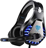 Gaming Headset für PS5 PS4 Xbox One PC Kopfhörer mit Mikrofon LED Licht Noise Cancelling Over Ear Kompatibel mit Nintendo Switch Games Laptop Mac PS3 (Schwarz blau)