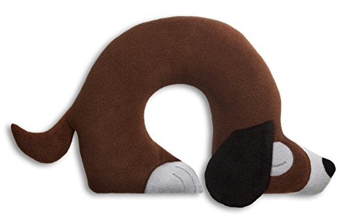 Leschi REISEKISSEN für erholsamen Schlaf in Auto, Flugzeug und Camping-Bett/Reisegeschenk für Kinder und Erwachsene/waschbares Nackenkissen/Hund Charlie, braun grau schwarz
