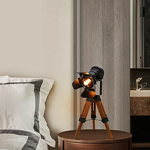 Lámpara de pie negra con tres patas de roble vintage, diseño industrial, para salón antiguo, casquillo E27, lámpara de pie retro, madera de metal, para café, bar o comedor