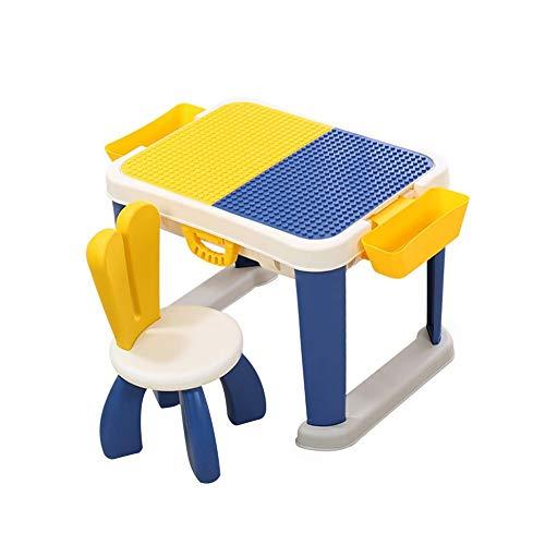 LWLEI Juego de Mesa de Actividades Mesa de Juego y Aprendizaje for niños con Silla y Bloques de construcción de 85 Piezas, Compatible con Todas Las Marcas Principales Durable