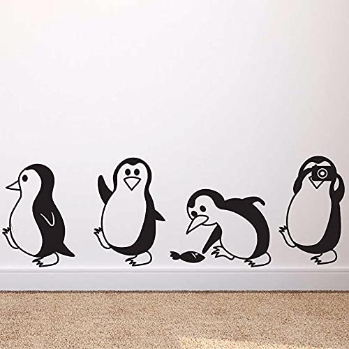 Süße Pinguin Kreative Wandaufkleber Aufkleber Dekorative Abnehmbare Wandaufkleber Für Kinderzimmer Vier Pinguin Vinyl Aufkleber 18x57cm