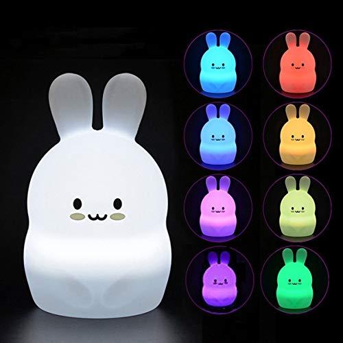Luz Nocturna Infantil Tekemai, Luz de Noche Bebé, Lámpara de Mesa, lámpara de cabecera,9 colores cambiando/USB recargable/control remoto y táctil regulable,Navidad y regalos de cumpleaños - Conejo