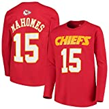 NFL Youth Team Color Mainliner Player Name and Number Long Sleeve Jersey T-Shirt (Large 14/16, Patrick Mahomes Kansas City Chiefs Red)
