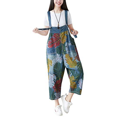 YuanDian Damen Latzjeans Denim Latzhose Weites Bein Große Größen Overalls Strampler Jeans Einteiler Hosen Boyfriend Loose Fit Umstands Mutterschaft übergroße Jumpsuits Hose 2# Blau