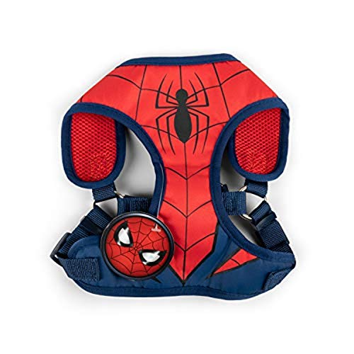 Marvel Comics Spiderman Superhero Hundegeschirr für große Hunde | Kein Ziehen Hundegeschirr, Hundeweste Geschirr | Rot No Escape Large Dog Harness Spiderman Dog Kostüm in Größe L (L)